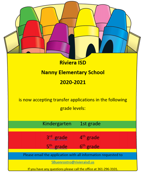 Nanny Elementary now accepting transfer applications